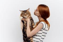 Härlig kvinna som rymmer en katt arkivfoto