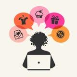 Härlig kvinna som shoppar över internet royaltyfri illustrationer
