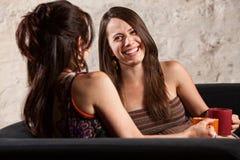 Härlig kvinna som skrattar med vän Fotografering för Bildbyråer
