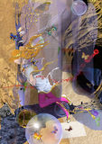 Härlig kvinna som svävar bland abstrakta objekt Arkivfoto