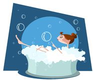 Härlig kvinna som tar ett bad i badkar Fotografering för Bildbyråer