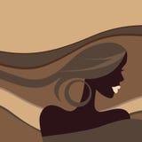 Härlig kvinna. Vektorillustration. Arkivbild