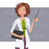 Härlig kvinnakardiologVector illustration Arkivbild