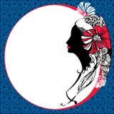 Härlig kvinnakontur på en mosaikbakgrund Royaltyfri Illustrationer
