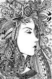 Härlig kvinnalinje konstteckning Arkivfoton