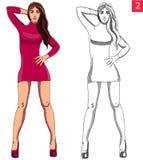 Härlig kvinnamodemodell i röd klänning Arkivbild