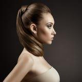 Härlig kvinnastående. Långt Brown hår Royaltyfri Foto