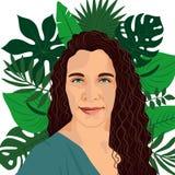 Härlig kvinnastående på bakgrund med tropiska palmblad stock illustrationer