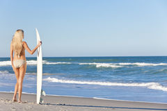 Härlig kvinnasurfare i bikinisurfingbrädastrand Royaltyfri Bild
