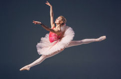 Härlig kvinnlig balettdansör på en grå färg Royaltyfria Foton