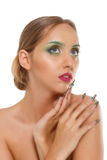 Härlig kvinnlig framsida, sexig modellcloseupstående som isoleras på det vita bakgrunds-, glamour- och modebegreppet Arkivbilder
