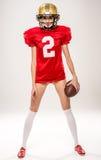 Härlig kvinnligAmericanfotbollsspelare Royaltyfri Bild