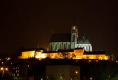 Härlig kyrka på natten (Brno) Royaltyfri Bild