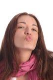 härlig kyss som överför kvinnabarn fotografering för bildbyråer