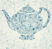 Härlig lacy teapot Fotografering för Bildbyråer