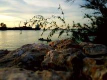 Härlig landskapSongkhla sjö songkhla Thailand Arkivfoto