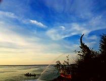 Härlig landskapSongkhla sjö songkhla Thailand Arkivfoton
