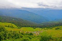 Härlig landssikt med berg i bakgrunden Arkivfoto