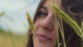 Härlig le brunett i fält som är fulla av råg och att se kameran, utomhus- natur stock video