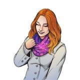 Härlig le flicka i halsdukillustration royaltyfri illustrationer