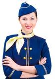 Härlig le stewardess Royaltyfria Bilder