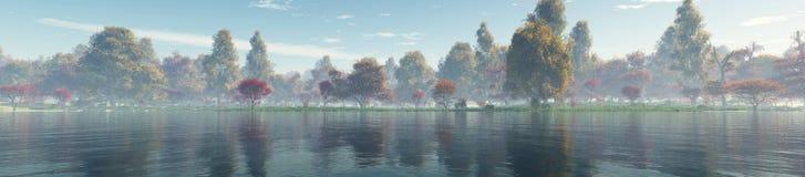 härlig liggande för höst Höstträd över vattnet royaltyfri bild