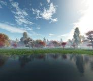 härlig liggande för höst Höstträd över vattnet royaltyfri fotografi
