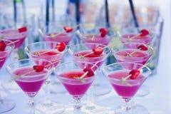 Härlig linje av olika kulöra alkoholcoctailar med rök på ett julparti, en tequila, en martini, en vodka och andra på delen Royaltyfri Fotografi