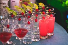 Härlig linje av olika kulöra alkoholcoctailar med rök på ett julparti, en tequila, en martini, en vodka och andra på delen Royaltyfria Bilder