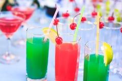 Härlig linje av olika kulöra alkoholcoctailar med rök på ett julparti, en tequila, en martini, en vodka och andra på delen Arkivbild