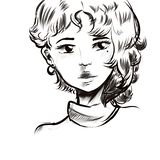 Härlig linje för svart för flickaståendeframsida stock illustrationer