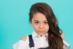 Härlig liten flicka av grundskola för barn mellan 5 och 11 åråldern med långt hår Arkivbilder
