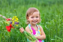 Härlig liten flicka i en äng royaltyfri fotografi
