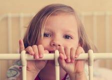 Härlig liten flicka i lathunden royaltyfria foton