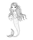 härlig liten mermaid siren abstrakt tema för abstraktionbakgrundshav stock illustrationer
