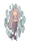 Härlig liten sjöjungfru och en flock av fisken siren abstrakt tema för abstraktionbakgrundshav royaltyfri illustrationer