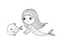 Härlig liten sjöjungfru och fisk siren Arkivfoton