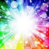 Härlig ljus regnbågebakgrund, brustna stjärnor, stjärnor, cirklar, strålar, ferie, gyckel, parti, musikfestival, semester, regnbå stock illustrationer