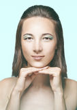 härlig ljus sminkkvinna fotografering för bildbyråer