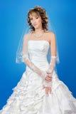 härlig lycklig brud i en bröllopsklänning på blå bakgrund Royaltyfri Foto