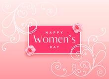 Härlig lycklig design för dag för kvinna` s med blom- garnering stock illustrationer