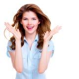 härlig lycklig förvånad kvinna Fotografering för Bildbyråer