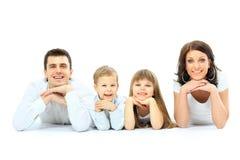Härlig lycklig familj arkivfoto