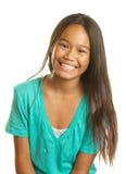 Härlig lycklig filippinsk flicka på vit bakgrund Arkivfoton