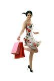 härlig lycklig shoppare Fotografering för Bildbyråer
