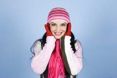 härlig lycklig vinterkvinna Arkivbild