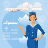 Härlig lyxfnask för luft Stewardessinnehavbiljett i hennes hand Kvinna i officiell kläder royaltyfri illustrationer