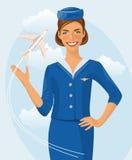 Härlig lyxfnask för luft Stewardessinnehavbiljett i hennes hand Kvinna i officiell kläder stock illustrationer