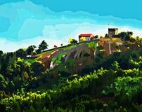 Härlig målning av den Lanhoso slotten royaltyfri foto