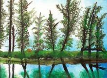 Härlig målning med reflexion av träd stock illustrationer